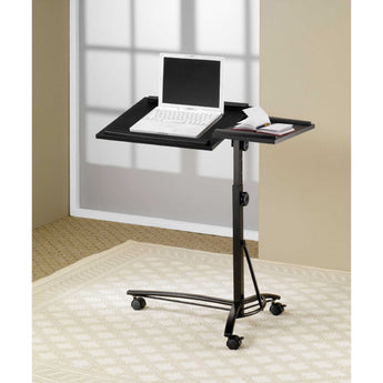 Adjustable Height Mobile Laptop Computer Desk Stand in Black Finish