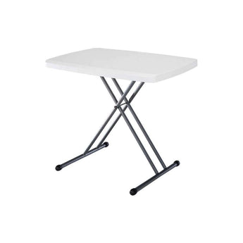Adjustable Height White Plastic Top Folding Table with Sturdy Steel Metal Legs