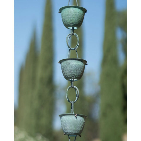 Pure Copper with Green Patina 8.5-Ft Rain Chain with Hammered Cups