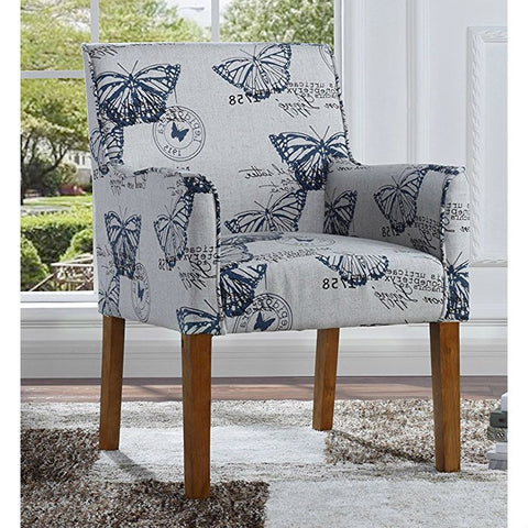 Modern Linen Upholstered Armchair with Blue Butterfly Pattern and Wood Legs