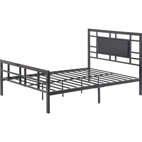 Full size Modern Classic Metal Platform Bed Frame with Black Upholstered Headboard