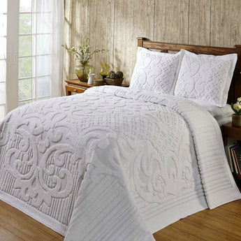 Queen size 3-piece 100-Percent Cotton Chenille Bedspread in White with Shams