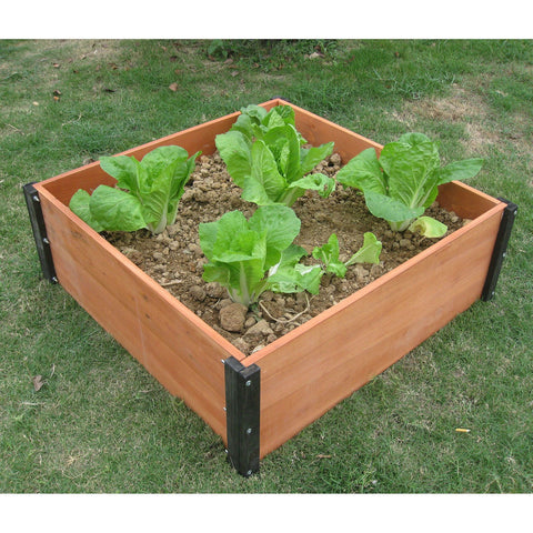 Solid Wood 3-Ft x 3-Ft Raised Garden Bed Planter Box - 12-inch High