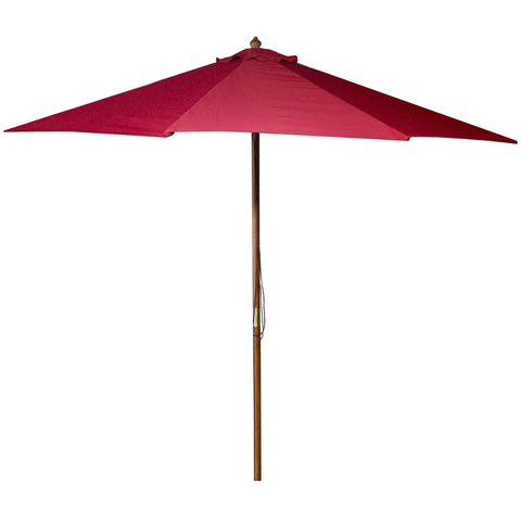 9-Ft Wooden Patio Umbrella with Pulley and Red Polyester Canopy