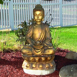 Sunnydaze Relaxed Buddha Fountain with Light- Free Shipping