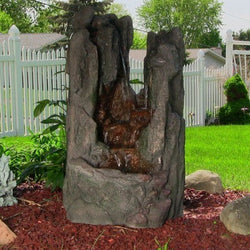 Rock Cavern Falls Fountain w/LED Lights by Sunnydaze Decor- Free Shipping