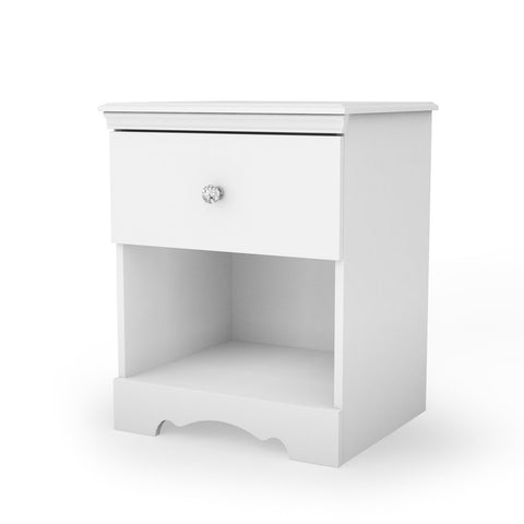 Eco-Friendly White Nightstand with Drawer and Open Shelf