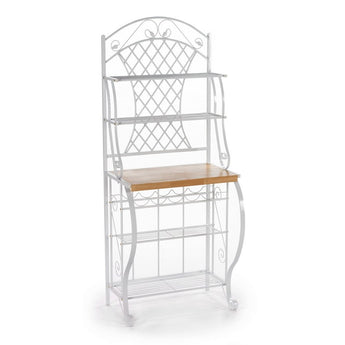 White Metal Bakers Rack with 5 Shelves for Kitchen or Pantry