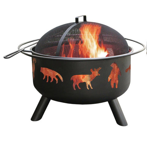 Large Black Steel Outdoor Fire Pit with Bear Deer Animals