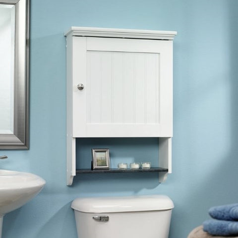 Bathroom Wall Cabinet in White Wood Finish with Bottom Storage Display Shelf