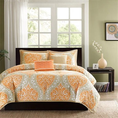 Twin size 4-Piece Orange White Damask Print Comforter Set