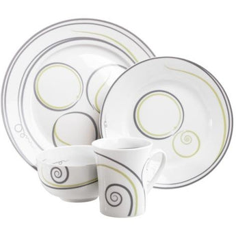 Vivente Portion Control Dinnerware 4 Piece, Single Place Setting by Livliga