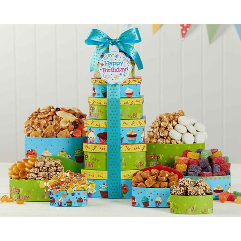 Make a Wish Birthday Gift Tower by Wine Country Gift Baskets- Price Includes Shipping