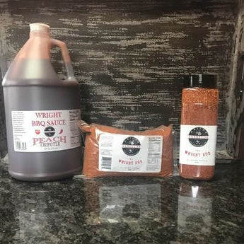 Gallon Peach Chipotle BBQ Sauce, 27oz Wright Rub Shaker And 2lb Bag Wright Rub