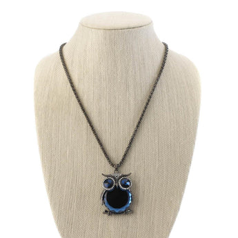BLUE  CRYSTAL OWL  NECKLACE