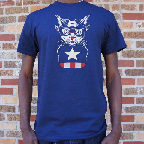 Captain Ameri-Cat T-Shirt Mens- Free Shipping