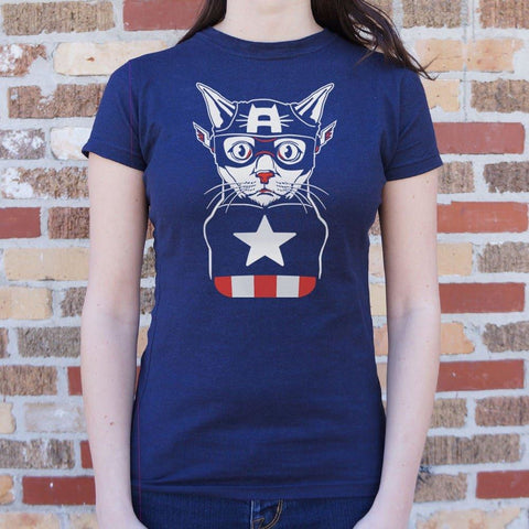Captain Ameri-Cat T-Shirt Ladies- Free Shipping