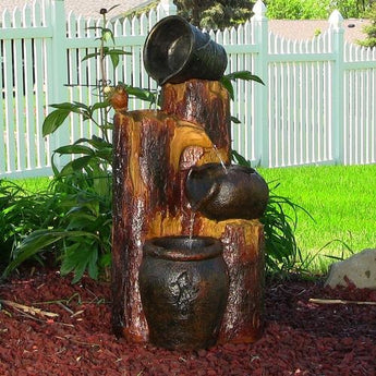 Sunnydaze Cascading Log & Buckets Solar On Demand Fountain- Free Shipping