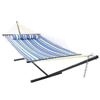 Sunnydaze Catalina Beach Quilted Double Fabric Hammock and Stand Combo- Free Shipping