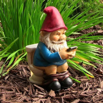 "Cody the Gnome Reading Phone on the Throne, 9.5"" by Sunnydaze Decor"