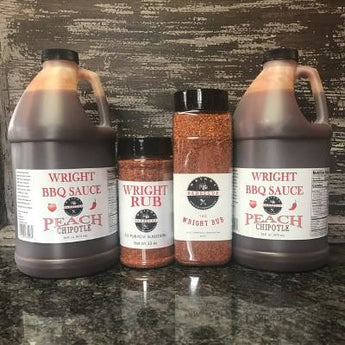 Two Half Gallons Peach Chipotle Sauce, 27oz Wright Rub And 13oz Wright Rub
