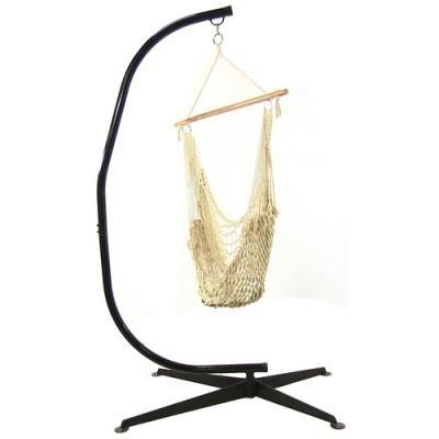 Cotton Rope Hammock Chair with Wood Bar and C-Stand Combo By Sunnydaze Décor- Free Shipping