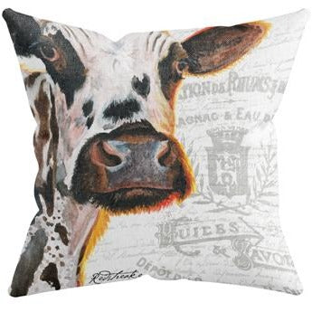 GLOWING COW THROW PILLOW by Redstreake Creative Living