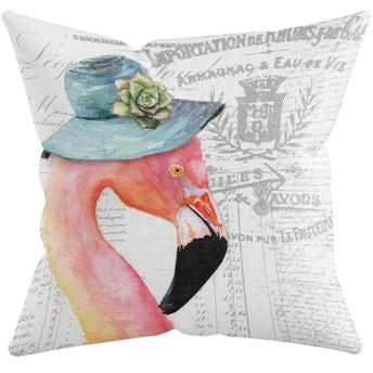 FLAMINGO WITH HAT THROW PILLOW by Redstreake Creative Living