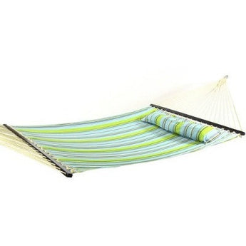 Quilted Double Fabric Hammock w/ Spreader Bar and Pillow by Sunnydaze Decor- Free Shipping