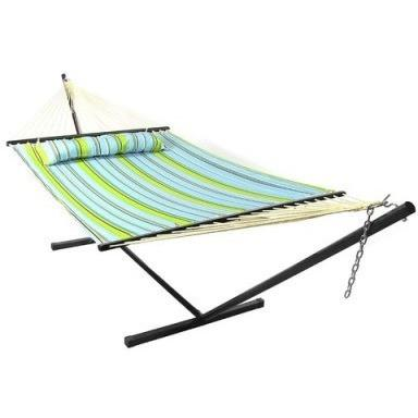 Blue and Green Quilted Double Fabric Hammock and Stand Combo by Sunnydaze- Free Shipping