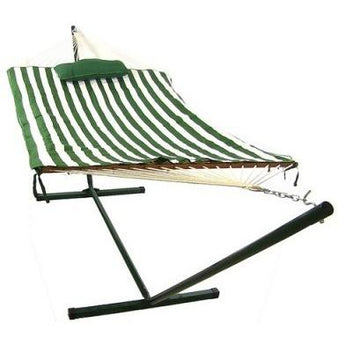 Sunnydaze Green/White Stripe Rope Hammock and Stand Combo w/ Pad & Pillow- Free Shipping
