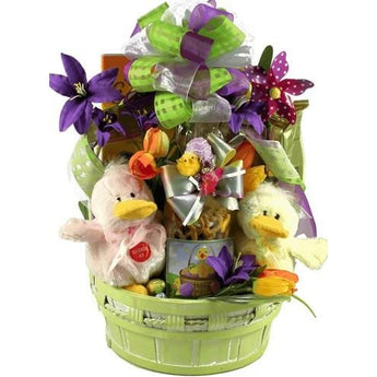 Just Ducky Easter Gift Basket with Quacking Ducks- Free Shipping