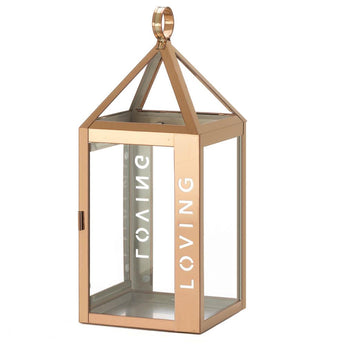 Large Rose Metal Loving Lantern