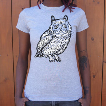 Cat Owl T-Shirt Ladies- Free Shipping