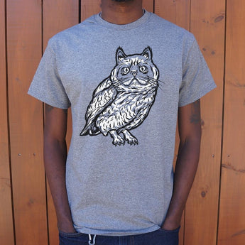 Cat Owl T-Shirt Mens- Free Shipping