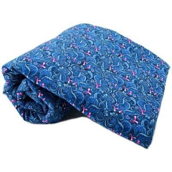 BLUE PAISLEY PINK RIBBONS PET BLANKET by K9 Bytes