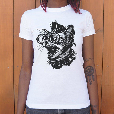 Punk Cat T-Shirt Ladies- Free Shipping