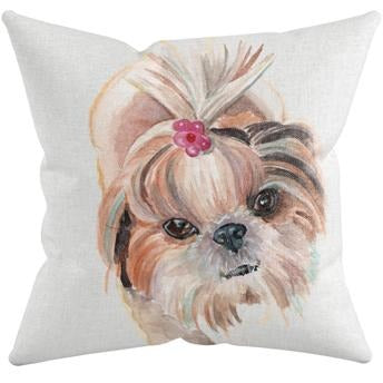PUP WITH BOW THROW PILLOW by Redstreake Creative Living