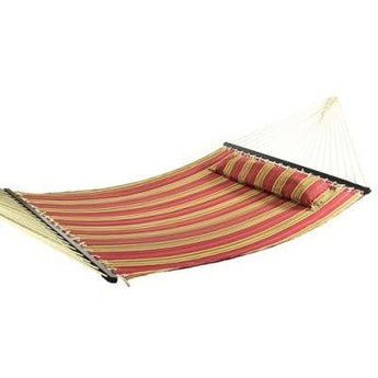 Red Quilted Double Fabric Hammock w/ Spreader Bar and Pillow by Sunnydaze Decor- Free Shipping