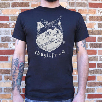 Thug Life Cat Times Nine T-Shirt Mens- Free Shipping