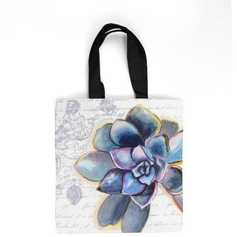 BLUE SUCCULENT TOTE BAG by Redstreake Creative Living- Multiple Sizes