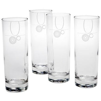 Water/Beverage Glass with Portion Control & Fill Line Set of 4, 12 oz. by Livliga