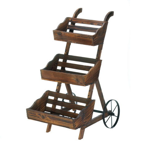 WOODEN 3-TIER PLANT CART STAND