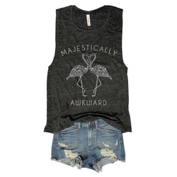 majestically awkward, muscle tank, muscle tee, funny message tee, awkward tank, antisocial club, antisocial, made in the usa, womens, gym shirt, gym tank, gym shirt,