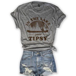 In The Lake Getting Tipsy... Unisex Triblend Tee-Everfitte-[funny family shirt]-[drinking shirts]-[bachelor shirt]-[bachelorette party tees]-[bridal party shirt]-[bridal party tee]-[group drinking tees]-[funny vodka shirt]-[funny tequila tee]-[funny tequila tshirt]-[funny whiskey tshirt]-[funny drinking shirt]-[tequila t-shirt]-[vodka t-shirt]-[whiskey t-shirt]-Everfitte