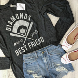 Sale... Diamonds Are A Girls Best Friend, Long Sleeve Tee