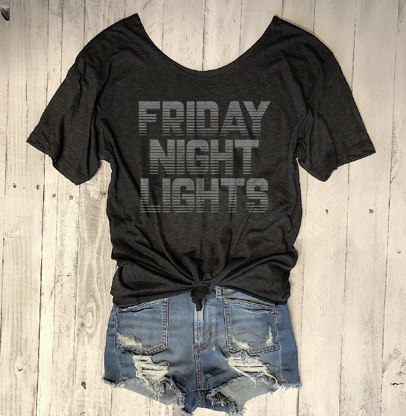 Limited... Friday Night Lights... Charcoal One Size Slouchy Raw Neck Tee