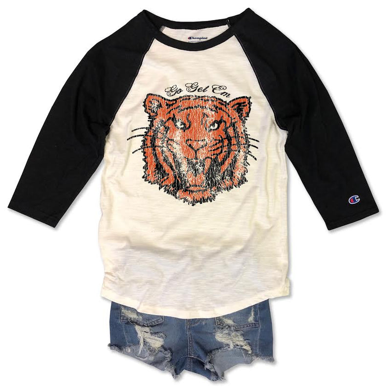 Go Get em Tiger, Tiger Shirt, Retro LSU tee, Retro LSU Raglan, womens retro tshirt, vintage LSU Shirt, Retro LSU Shirt, Womens, Retro Football Shirt, Tshirt,