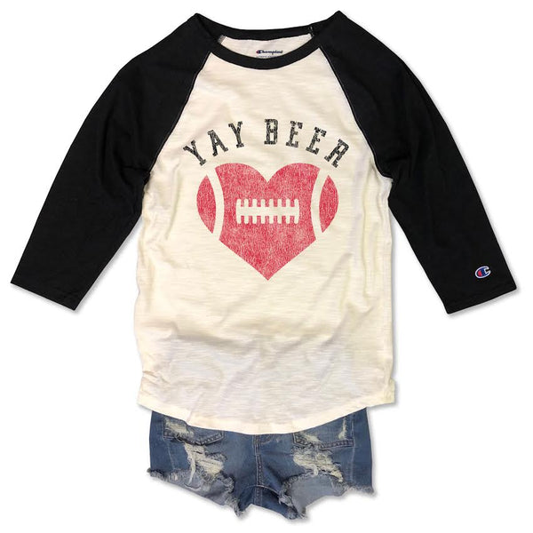 Football raglan, yay beer, Football Heart, Champion, Champion raglan, Oakland Raiders, San Diego Chargers unisex tee, Cute womans retro football tee, retro womens shirt, retro football shirt, vintage football raglan, Womans, Girls,