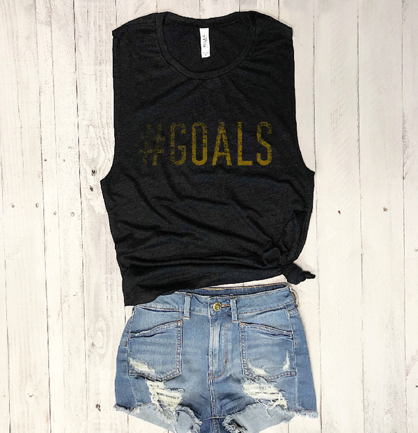 Sale! Goals... Black Slub Workout Muscle Tee